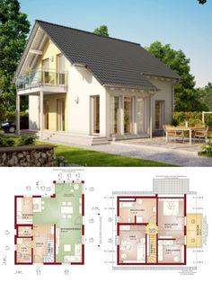 Satteldach-Haus mit Erker Anbau - Fertighaus Grundriss Solution 106 V5 Living Haus Ideen - HausbauDirekt.de