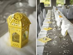 Just your colors on table, grey runner (not with flowers), nicer yellow napkins in your color, and of course your gorgeous flowers as centerpiece Yellow Grey Weddings, Gray Weddings, Yellow Wedding, Grey Wedding Decor, Wedding Colors, Wedding Decorations, Wedding Centerpieces, Modern Lanterns, Yellow Lanterns