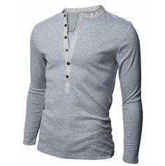Doublju Mens Henley Casual Slim Fit Long Sleeve T-shirt, Gray, S Casual T Shirts, Cool T Shirts, Men Casual, Men's Shirts, Women's Henley, Henley Shirts, Long Sleeve Henley, Long Sleeve Shirts, Geile T-shirts