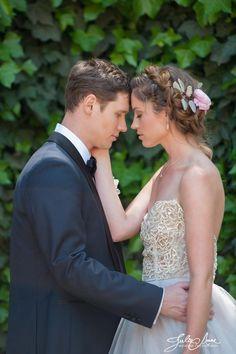 halo braid; flowers in the hair; photo shoot; bridal hair; bridal makeup