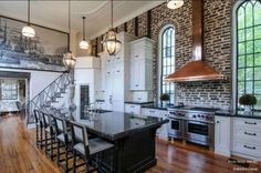 This is my dream kitchen! Traditional Kitchen with Island - 99 Beautiful Kitchen Island Design Ideas on HGTV. One Wall Kitchen, New Kitchen, Kitchen Decor, Kitchen Ideas, Loft Kitchen, Design Kitchen, Kitchen Brick, Apartment Kitchen, Kitchen Industrial