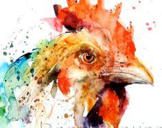 Kip aquarel afdrukken door Dean Crouser