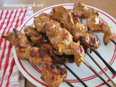 Grilled Chicken Skewers marinade: 1 cup Olive Oil, ¾ cup Soy Sauce, 1/4 cup Lemon Juice, ¼ cup Prepared Mustard (Dijon or Yellow), ¼ cup Worcestershire Sauce, 2 teaspoons Minced Garlic, 1-½ teaspoon Freshly Ground Black Pepper