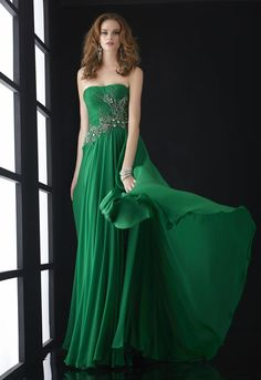 Strapless Floor Length Chiffon Green Prom Dresses 2014 with Beading