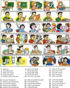 Learning the vocabulary for classroom actions great for teachers and students