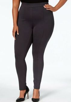80bcf9a8127f7 Style & Co Women's Plus Size 14W Seamed Ponte Leggings Carbon Grey NWT  #fashion