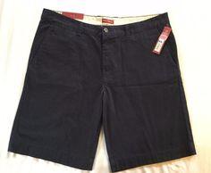 Merona Flat Front Shorts Relaxed Below Knee Navy 5 Pocket Size 38 NWT  #Merona #CasualShorts