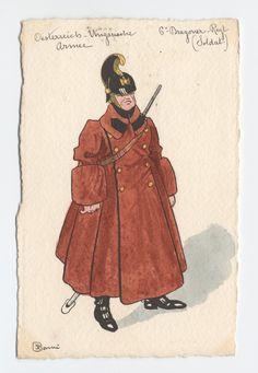 K.u.K. Dragoner-regiment nr. 6, Soldat in winter-feld-uniform, c.1900 Austria, Austro Hungarian, Military Uniforms, Armies, Caricature, Disney Characters, Fictional Characters, Empire, Disney Princess