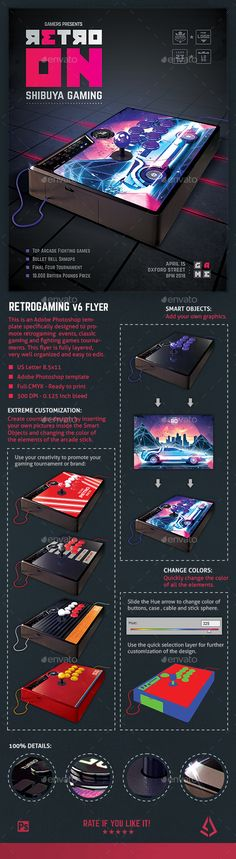 Retro Gaming #Flyer v6 - Arcade Stick #Mockup Template - Miscellaneous Events
