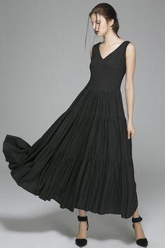 Black linen dress prom dress wedding dress women dress (1404)