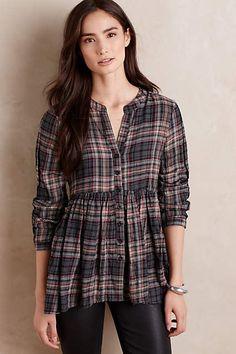 "Plaid Peplum Blouse - anthropologie.com - $98 Woven Cotton 29""Length (back length)"
