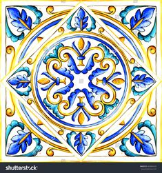 Find Italian Majolica Tiles Floral Ornament stock images in HD and millions of other royalty-free stock photos, illustrations and vectors in the Shutterstock collection. Painting Patterns, Tile Patterns, Pattern Art, Mediterranean Tile, Paisley Art, Italian Pottery, Blue Pottery, Mandala Drawing, Pottery Designs