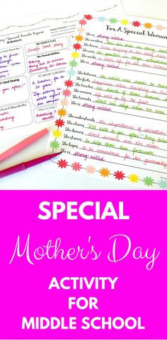 Fun and meaningful Mother's Day Activity for your middle school classroom! Your students' parents / guardians are going to be so happy to receive such a special note! Poems For Middle School, Middle School Crafts, Middle School Classroom, Teaching Writing, Efl Teaching, Writing Games, Teaching Time, Teaching Strategies, Writing Ideas