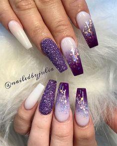 Purple Ombre Nails, Purple Acrylic Nails, Purple Nail Art, Purple Nail Designs, Best Acrylic Nails, Acrylic Nail Designs, Nail Art Designs, Nails Design, Purple Nails With Design