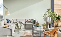 Breaking: de kleur van het jaar 2020 van Flexa is Tranquil Dawn - Roomed Nachhaltiges Design, Design Trends, Interior Design, Living Room Green, Living Room Paint, Two Tone Walls, Dulux Valentine, Color Of The Year, Color Trends