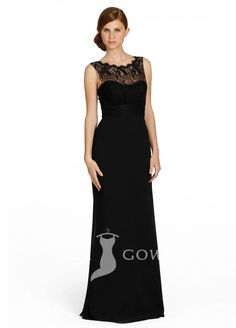 junoesque black illusion boat neck sleeveless a line long bridesmaid dress