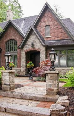 David Small Designs is an award winning custom home design firm. See a portfolio of our The Corner House project Red Brick Exteriors, Stone Exterior Houses, Dream House Exterior, Exterior House Colors, Stone Houses, Brick Houses, Stucco Exterior, Design Patio, Design Exterior