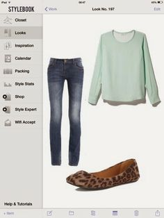 What to wear mint blouse: skinny jeans and animal print flats.