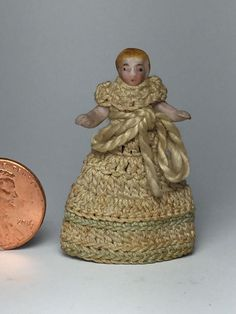 "Antique German Dollhouse Doll Carl Horn Porcelain Bisque Tiny 1 1/4"" | #1819465193"