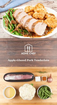 Apple-Glazed Pork Tenderloin with BBQ-rubbed cauliflower, caramelized shallots, and green beans