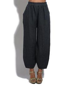 Dark Gray Linen Harem Pants - Plus Too