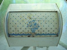 Vintage Metal Roll Top Bread Box with Flower by HuckleberryCarrie