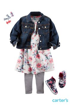 If she always wants to wear that dress even in the fall, just add stretchy leggings and our must-have denim jacket. Our floral high tops add some girly flare.