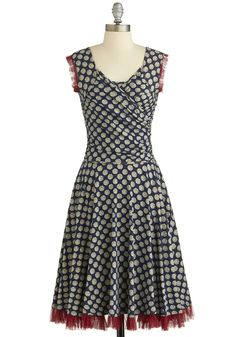 This is so stinkin adorable! I want it! No Business Like Show Business Dress in Dots, #ModCloth