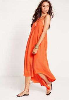 Tie up front maxi dress orange