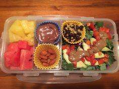 Pineapple & Watermelon, Chocolate Frosting Shot, Almonds, Brown Rice & Black Beans, Kale Avocado Salad w/Almond Balsamic Vinaigrette