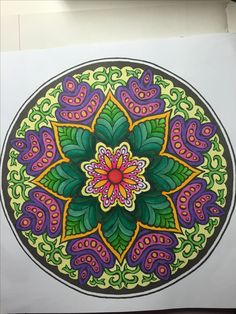 Drawing by Alberta Hutchinson. This is the first mandala I've colored in quite a while, and I didn't realize how much I'd missed it. Coloring, especially mandalas, is so soothing and meditative.