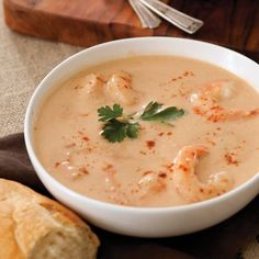 This decadent shrimp bisque is a show-stopper. ½ cup butter ¾ cup all-purpose flour ½ cup chopped yellow onion ¼ cup chopped celery ¼ cup chopped green bell pepper 2 cloves garlic, minced ½ teaspoon Old Bay seasoning 2 cups half-and-half cups Shrimp . Shrimp Dishes, Shrimp Recipes, Fish Recipes, Soup Recipes, Cooking Recipes, Shrimp Soup, Cajun Shrimp, Shrimp Bisque Recipe Easy, Shrimp Stock Recipe