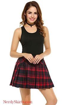 1d1c5e4e9 Women's Plaid School Skirts, High Waist Elastic Pleated Skater Dress