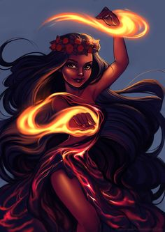 ajamariesart: Hawaiian Goddess Pele for Sketch Dailies! :)