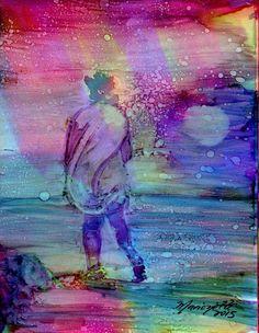 Original Alcohol Inks on Yupo Painting from Kauai Hawaii A Walk on Kekaha Beach purple blue