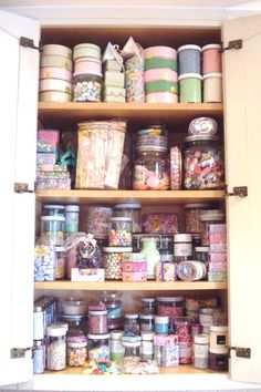 A whole cabinet of sprinkles and stuff for cupcakes & cake decorating!