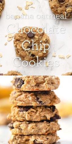 These healthy Oatmeal Chocolate Chip Cookies are made without gluten dairy sugar or oil but are packed with fiber banana and have the best chewy texture! Great for an easy homemade breakfast or a snack! from-scratch recipe great for clean eating. Healthy Cookie Recipes, Healthy Cookies, Healthy Desserts, Gourmet Recipes, Dessert Recipes, Baked Oatmeal Recipes, Baked Oats, Protein Cookies, Protein Snacks