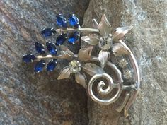 Cobalt Blue Rhinestone Flower Brooch Blue Wedding Brooch Dark Blue Floral Brooch Flower Pin Wedding Bouquet Something Blue by PassingTides on Etsy