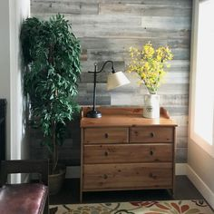 Use reclaimed wood panels in the silver finish to add a rustic accent wall to your home.  The peel and stick panels are lightweight and easy to install!