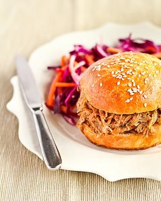 Slow Cooked Ginger Beer Pulled Pork on Brioche Buns with a Spicy Slaw