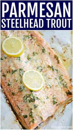 Parmesan Baked Steelhead Trout Recipe Looking for an easy baked fish recipe? This Parmesan Steelhead Trout Recipe is simple and delicious featuring fresh parsley, garlic, lemon and Parmesan cheese. Steelhead Trout Recipe Baked, Baked Trout, Steelhead Fish, Seafood Recipes, Vegetarian Recipes, Cooking Recipes, Healthy Recipes, Pork Recipes, Healthy Food