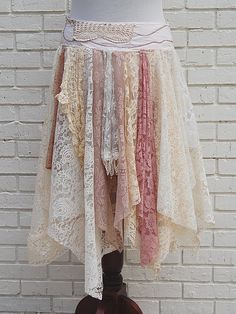 Fairy Woodland Gypsy Skirt Tattered Lace by GallimaufryClothing, $68.00