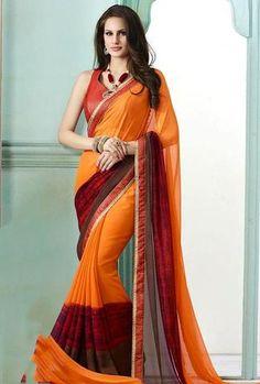 Orange, Maroon & Brown Georgette Saree ,Indian Dresses - 1