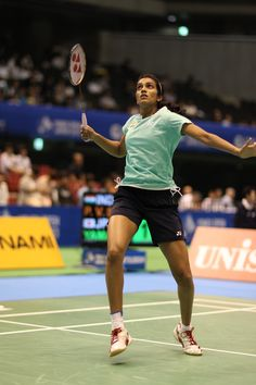 Sindhu P.V. (NANORAY 700RP) competes in the YONEX OPEN JAPAN 2013 P V Sindhu, Women's Badminton, Just A Game, Female Images, Sport Girl, Pose Reference, Athlete, Poses, Running