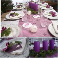 Christmas table decoration in purple with real twigs from Christmas tree and small paper deers.