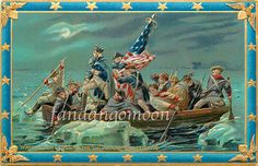 Beautiful Crossing the Delaware George Washington 4th July Patriotic Independence Day Postcard Antique Digital Download by FandangoDigital on Etsy