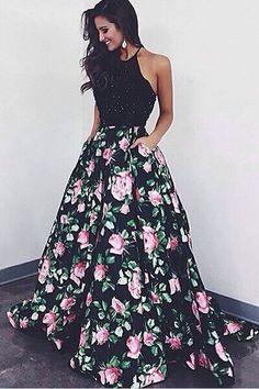 Halter A-Line Prom Dress, Floral Backless Prom Dress, Black Long Prom Dress
