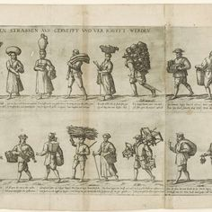 OJO: Alemán! Fries with thirty-six street vendors operating in Cologne, including almanacs and newsboy, printed from three plates ( plate two and three mounted to each other ] , Frans Hogenberg , 1589