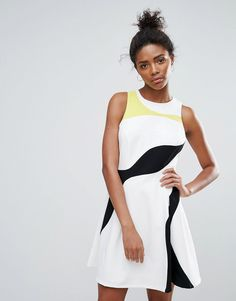 ADELYN RAE MULTI COLOR PANEL SKATER DRESS - WHITE. #adelynrae #cloth #