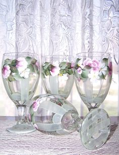 Wine Glasses with Hand Painted Pink Rose Buds Set of 4